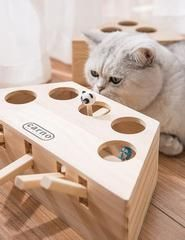 LAMEIDA Cat Toy Wooden Cat Funny Hunt Toy Whack Mole Mouse Game Puzzle Toy Interactive Cat Teaser Toy 5 Holes