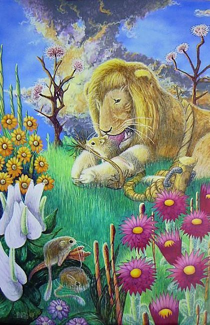 """""""The Mouse, recognizing the Lion's roar, came and gnawed the rope with his teeth..."""" (Aesop's fable, """"The Lion and The Mouse"""")"""