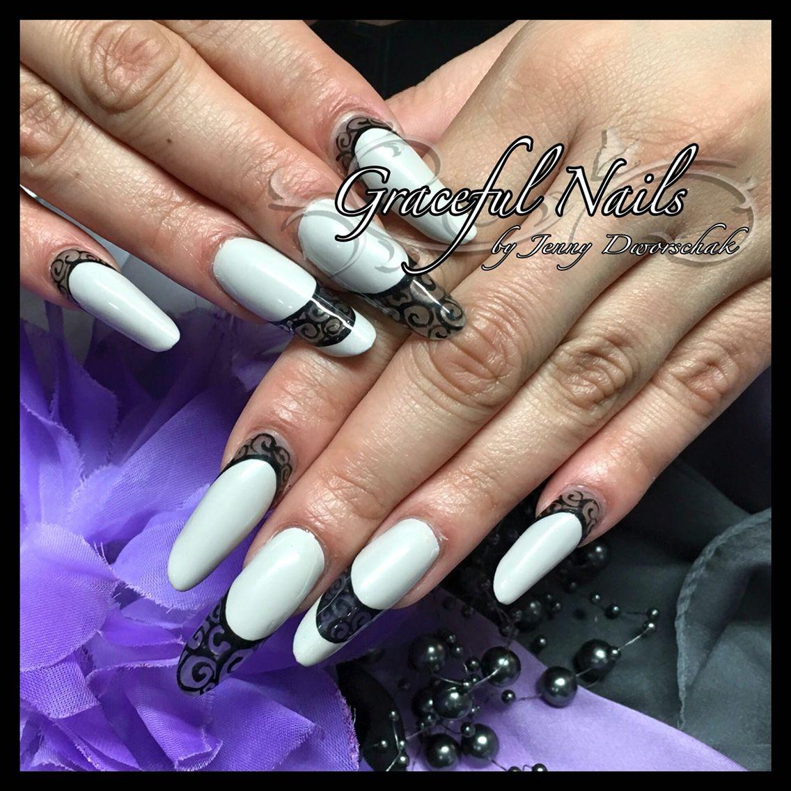 Fullcover Clear Design Nailart Gelmalerei schwarz Nails Nägel ...