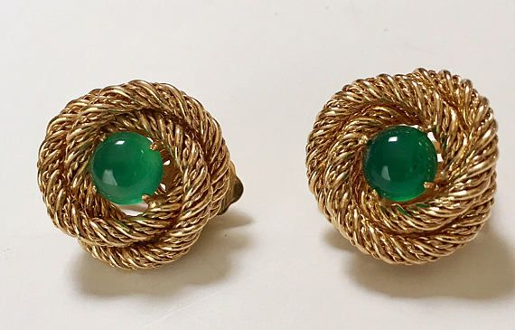 Coiled Twisted Wire Earrings Green Stone Clip Style Gold Tone