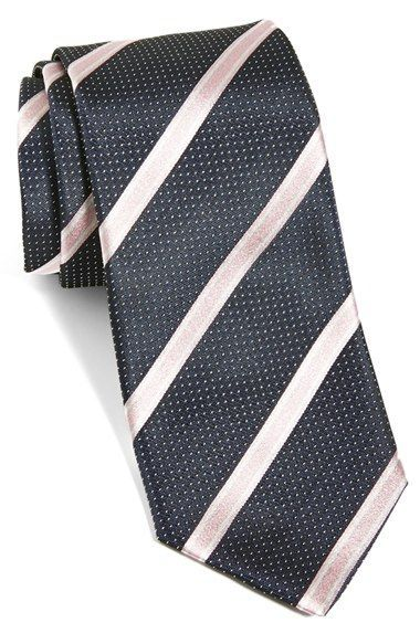 Men's BOSS Diagonal Stripe Woven Silk Tie