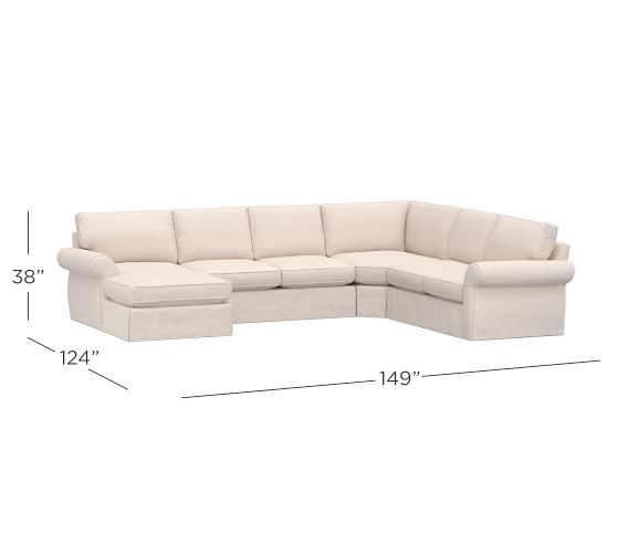 Pearce Roll Arm Slipcovered 4 Piece Chaise Sectional With