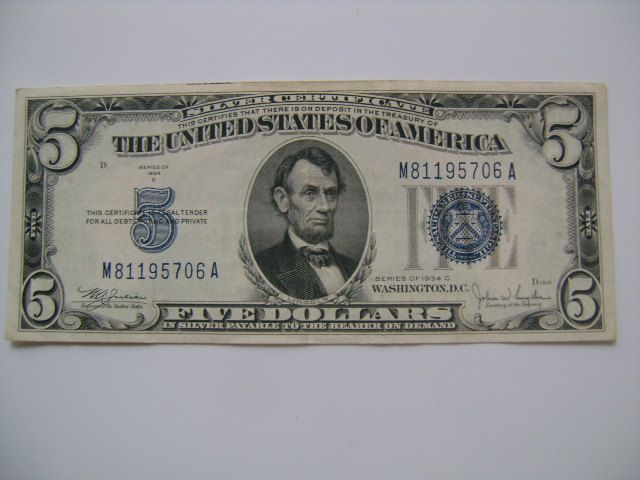 Series of 1934 C 5 Dollar Bill Silver Certificate US Currency Note ...