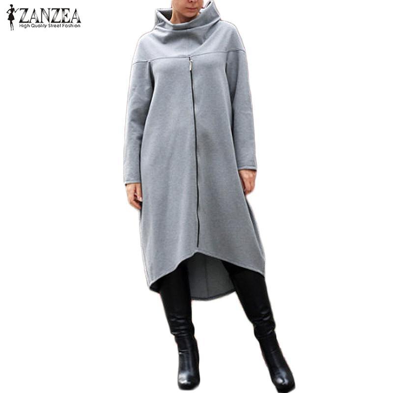 6c352df5f0e Now at our store Women Turtleneck Long Sleeve Zipper Loose Asymmetrical Hem Long  Sweatshirt Pullover come