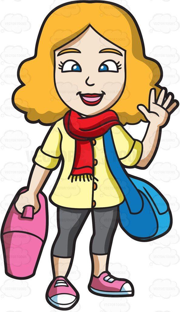 A Woman Waving Goodbye Before She Leaves Cartoon Smile And Wave Blue Bags