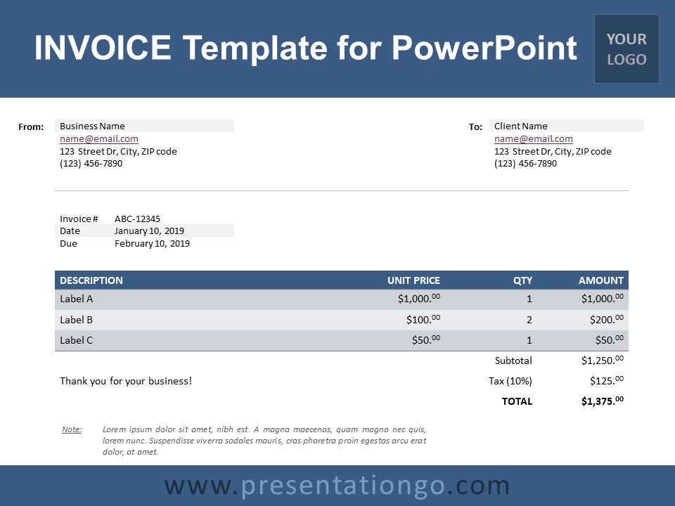 Invoice Template For Powerpoint Presentationgo Com