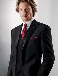 man's tuxedo with tails and a red shirt - Google Search | wedding ...