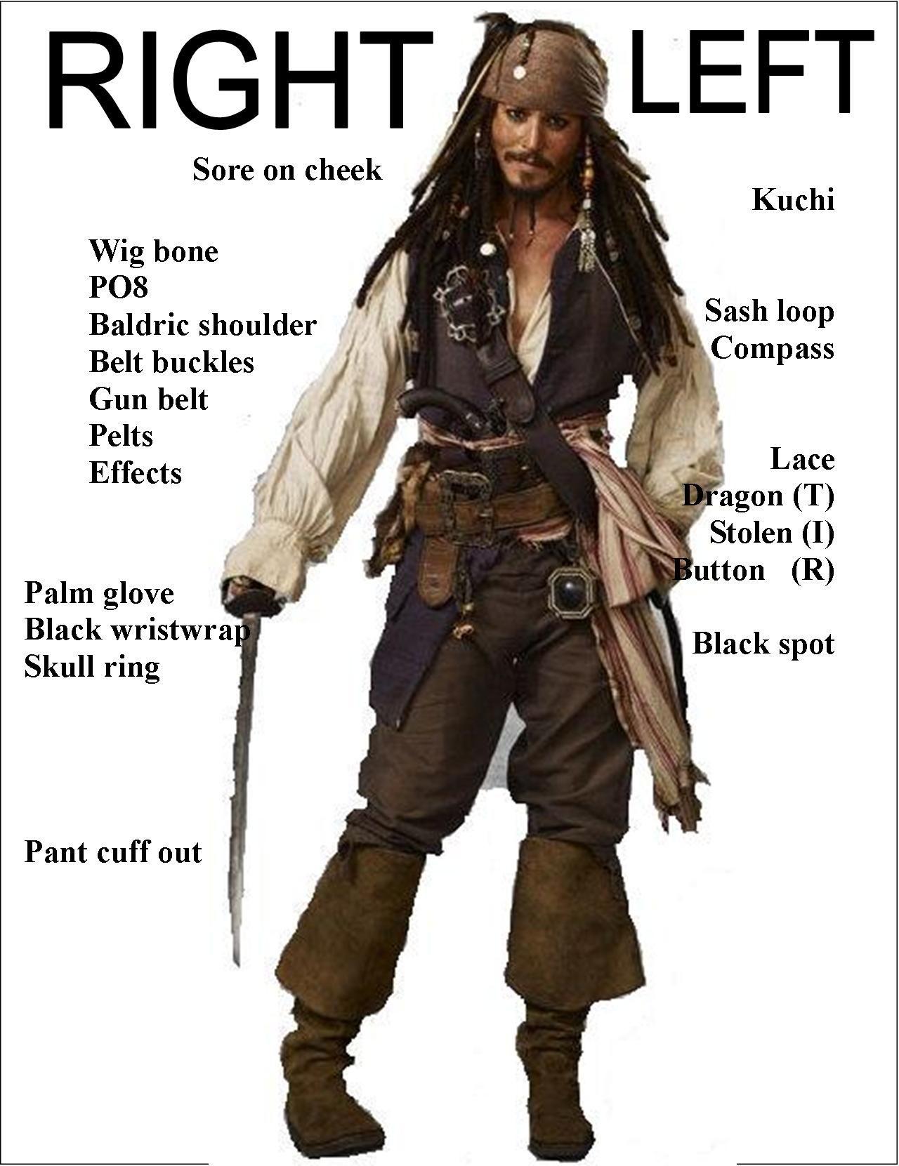 Men's Headbands Men's Accessories Pirates Of The Caribbean Jack Sparrow Wig Headband Hat Costume Cosplay Set