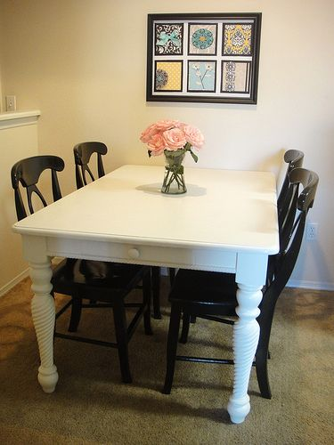 like the contrast of the black chairs with the white table | House ...