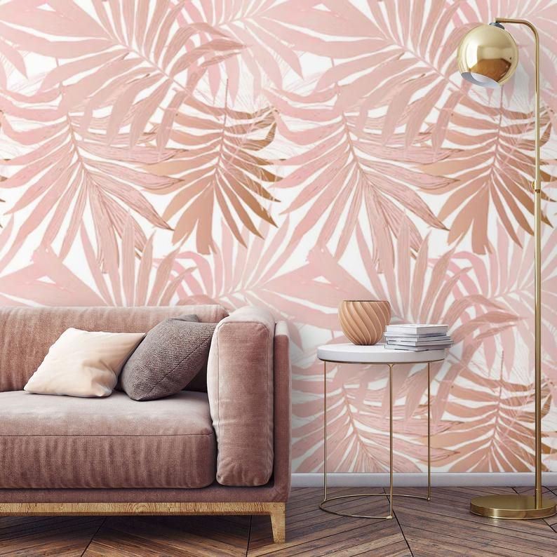 Removable Wallpaper Palm Leaves Peel And Stick Wallpaper Blush Etsy In 2020 Peel And Stick Wallpaper Wallpaper Tropical Wallpaper