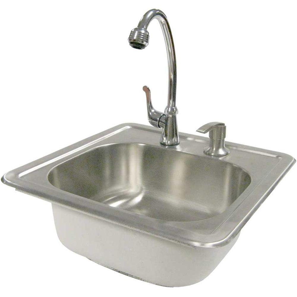 Cal Flame 15 1 2 In Outdoor Stainless Steel Sink With Faucet And Soap Dispenser Bbq11963 The Home Depot Stainless Steel Sinks Cal Flame Stainless Steel Cleaning