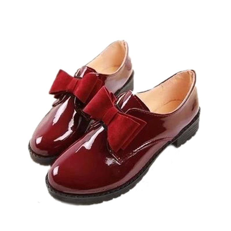 99967cda5d Patent Leather Oxford Shoes For Women Vintage British Style Bow Women  Oxfords Autumn Flat Shoes Woman Sping Autumn Platform Shoe