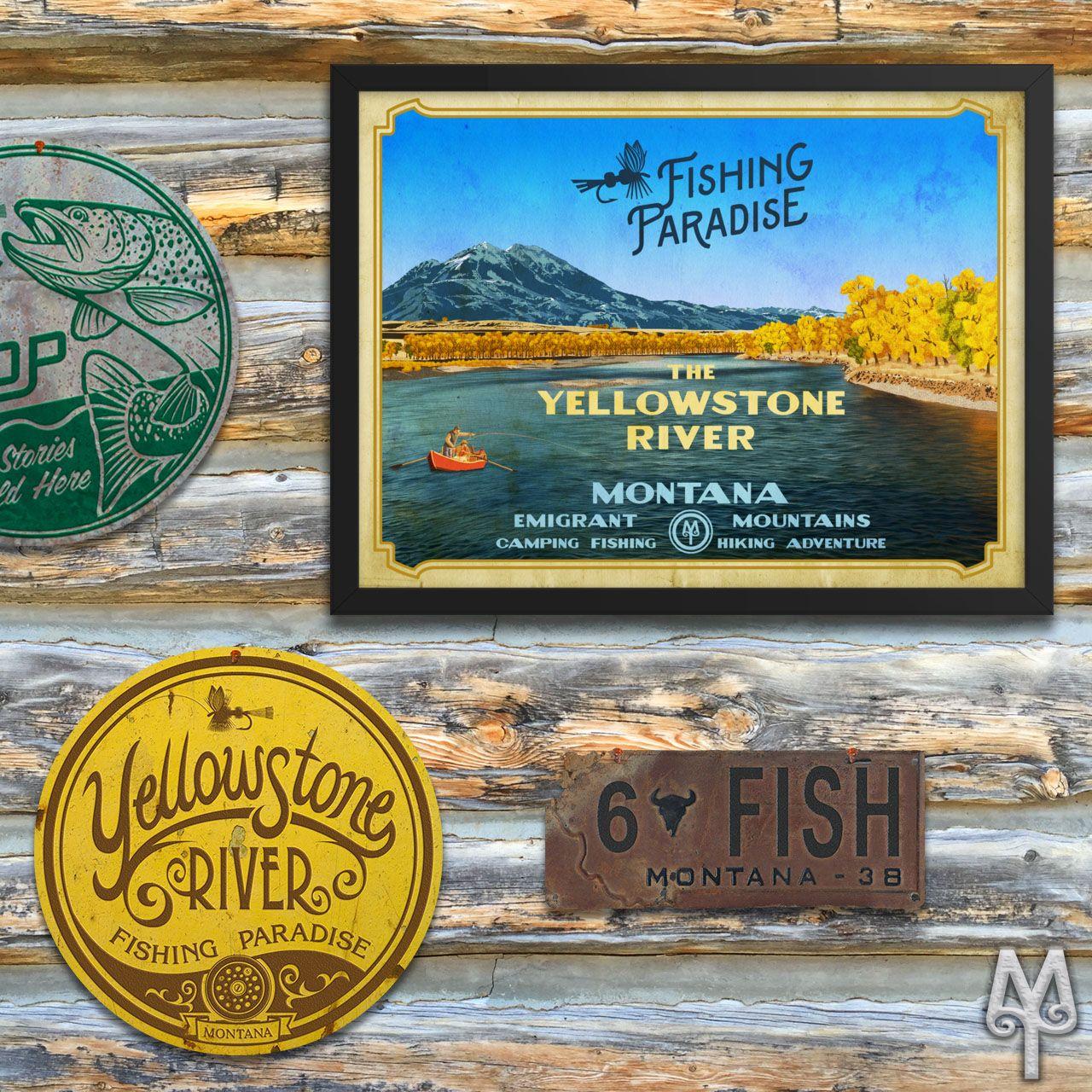 Vintage Yellowstone River Wall Sign Wall Signs Yellowstone River Wall Signs Decor