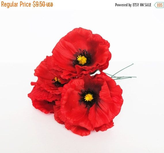 Listing for angela 7 red poppies artificial flowers silk poppy 43 on sale 5 red poppies artificial flowers silk poppy 43 flower floral hair accessories wedding mightylinksfo