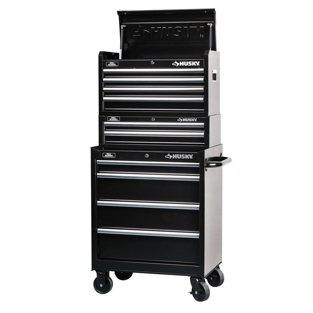 Husky 27 In 10 Drawer Storage Cabinet Set 3 Piece H4ch1r Hta102b12 H4tr1r The Home Depot Tool Chest Drawers Tool Box Cabinet