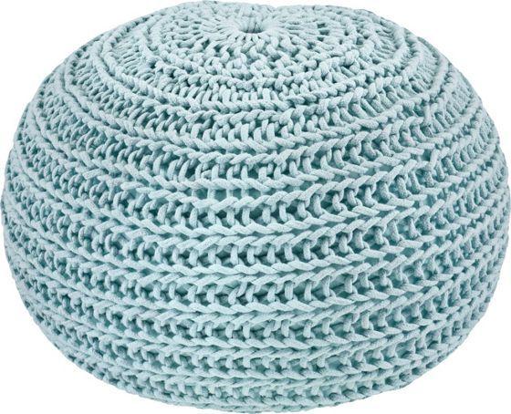 Schicker Pouf mit Strickbezug in Blau - flexibel und bequem