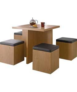 Hygena Bartley Space Saver Dining Table And 4 Stools Table And Magnificent Space Saver Dining Room Sets Review