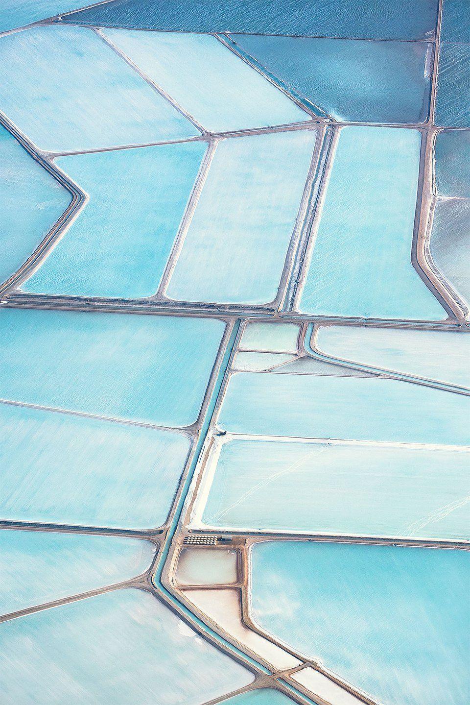 Blue salt fields in Australia