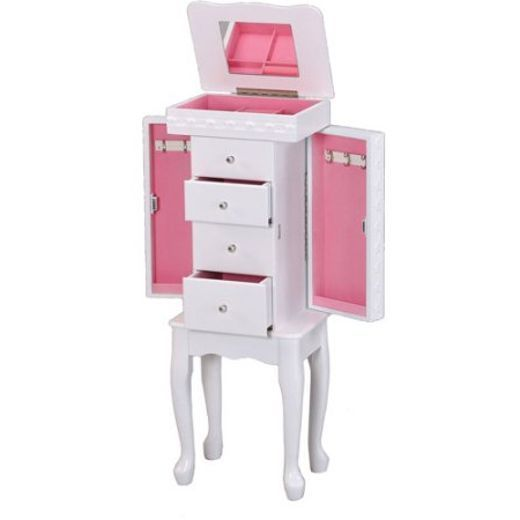 Jewelry Box For Girls Tall Stand Up Mirrored Armoire Cabinet Drawers