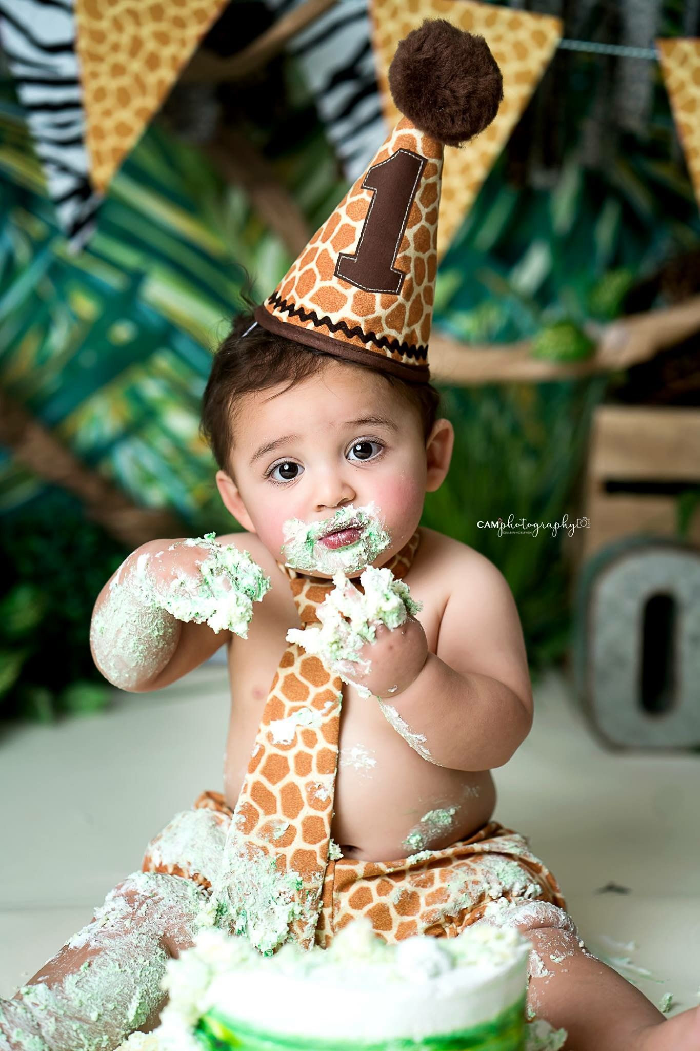 Animal print birthday theme cake smash smash cake smash session wild jungle theme safari theme photographer photography first birthday