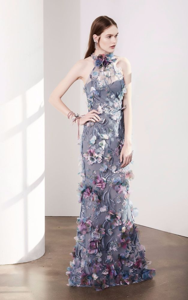 NWT Marchesa Notte Sleeveless 3D Floral Pastel Purple Halter Evening Gown #MarchesaNotte #EveningGownSheath #Formal