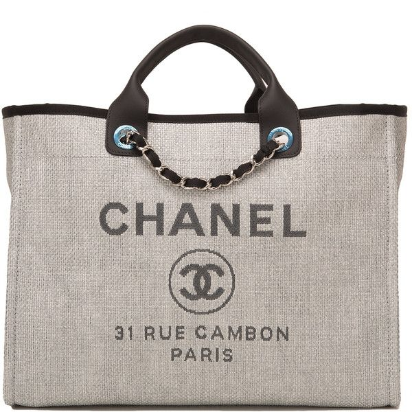 a4de0520b9a Chanel Grey Canvas Large Deauville Shopping Bag ❤ liked on Polyvore  featuring bags