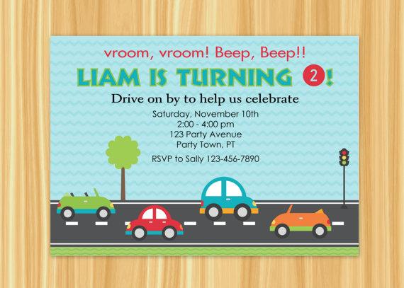 Custom Printable CUTE CAR - Transportation Theme - Birthday Party Invitation