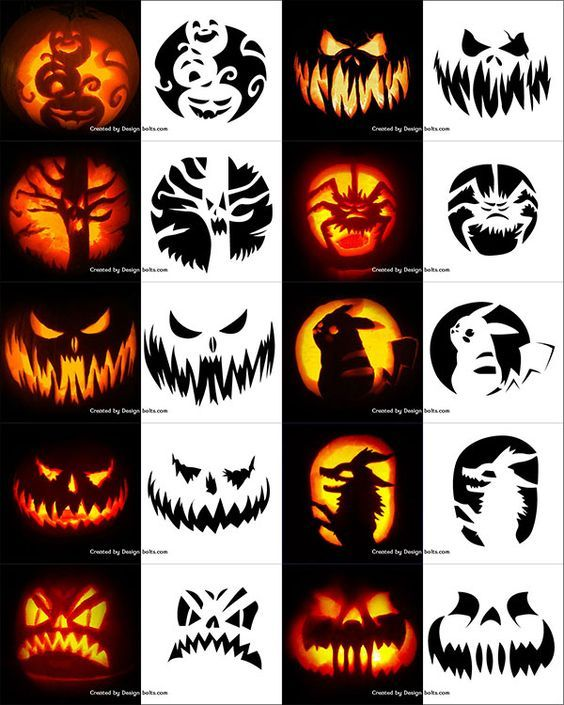 290+ Free Printable Halloween Pumpkin Carving Stencils, Patterns, Designs, Faces & Ideas #pumkincarvingdesigns