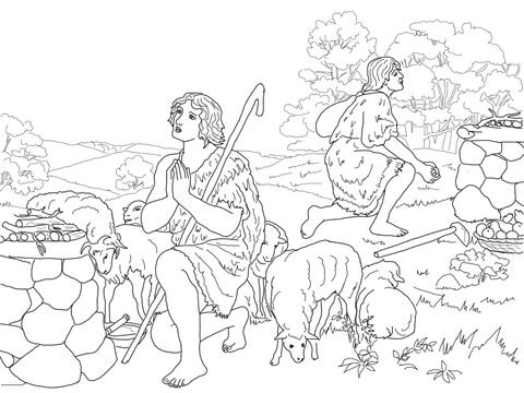 Cain And Abel Sacrifice To God Coloring Page Free Printable Coloring Pages Cain And Abel Bible Coloring Pages Angel Coloring Pages