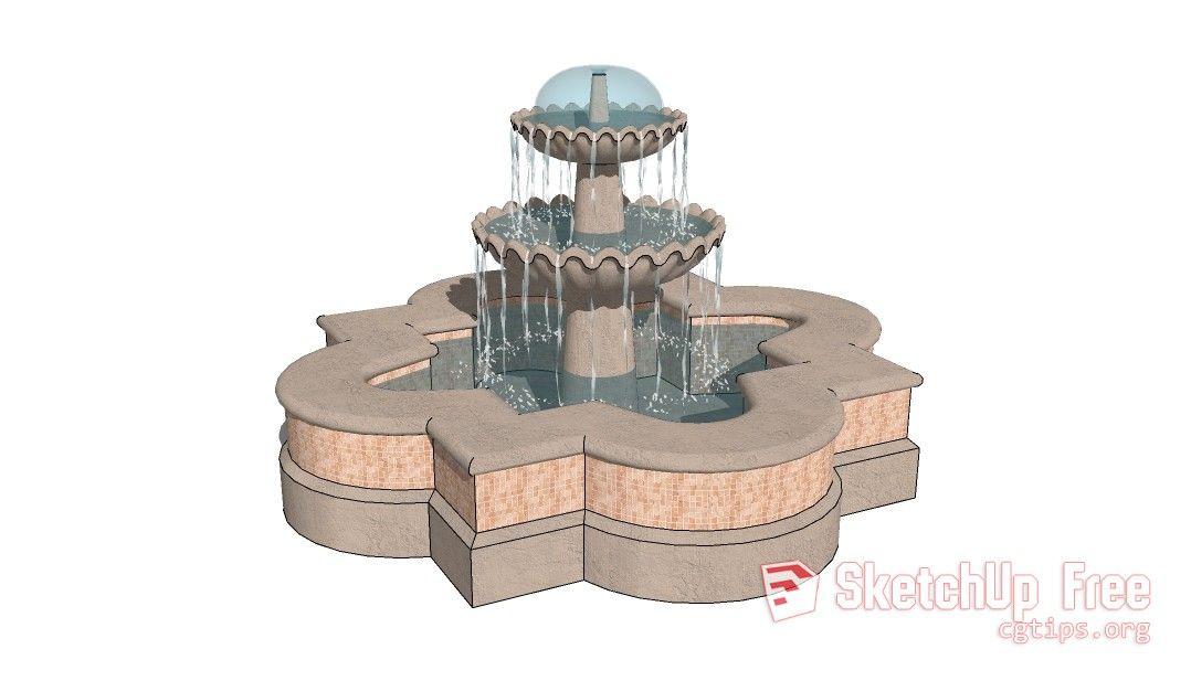 211 Garden Fountain Sketchup Model Free Download | Scenes