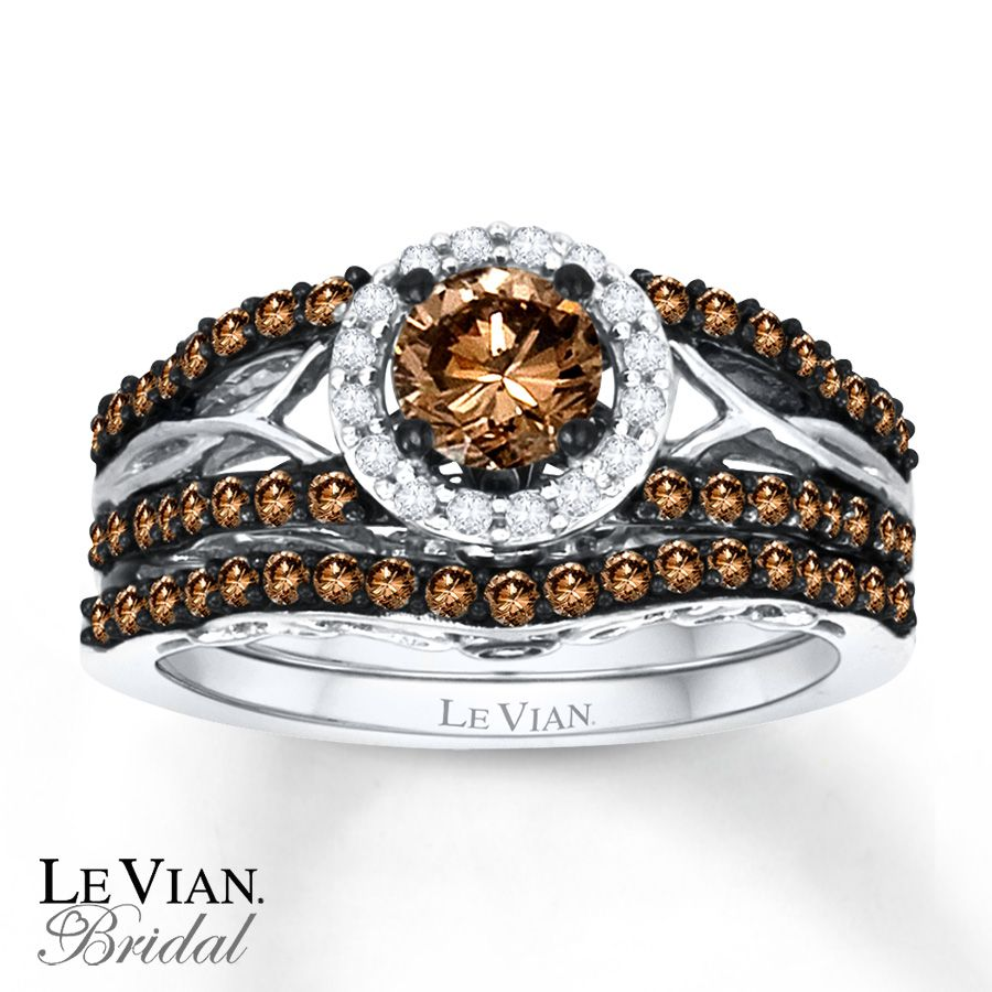 levianchocolatediamonds email levian chocolate diamonds 1 ct tw bridal set 14k diamond wedding setswedding ringbridal - Chocolate Diamonds Wedding Rings