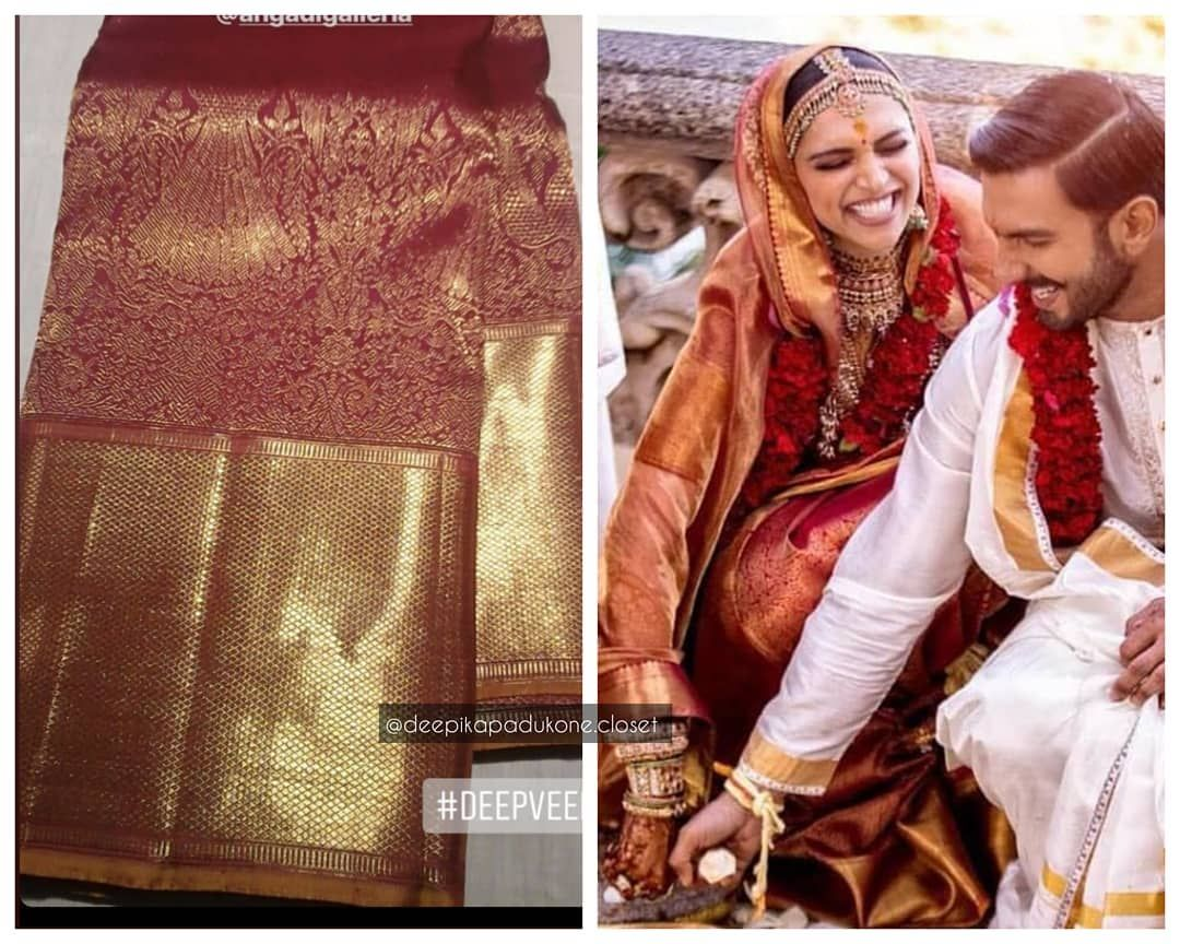 The Stunning Saree Gifted To Deepikapadukone By Her Mom Was From Angadigalleria In Bangalore Deepikapadukone Deepikapadukone Saree Silk Sarees Stunning