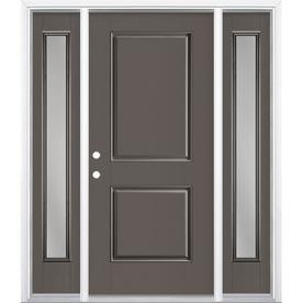 Masonite Right Hand Inswing Timber Gray Painted Fiberglass Prehung Entry Door With Sidelights And Insulating Entry Door With Sidelights Entry Doors Grey Paint