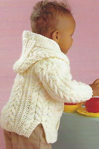 5ac3d8df56ab Baby Aran Knitting Pattern Jacket with Hood Design Boys Girls 18-28