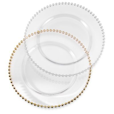 10 Strawberry Street Belmont Clear Charger Plates with gold bead trim $24.99 each - BedBathandBeyond.  sc 1 st  Pinterest & 10 Strawberry Street Belmont Clear Charger Plates with gold bead ...