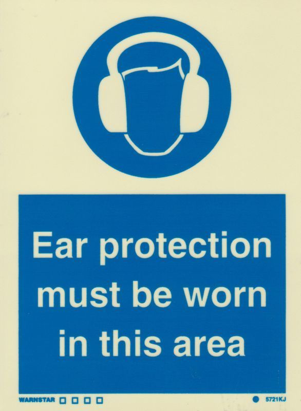 Marine Mandatory Sign Ear Protection Must Be Worn In This Area