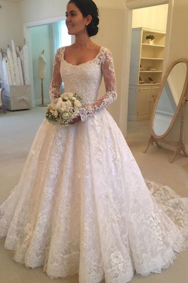 Long Sleeves Scoop Off White Lace A Line Elegant Wedding Dresses Okg93 Boat Neck Wedding Dress Wedding Dresses Lace Ballgown Lace Wedding Dress Vintage [ 1125 x 750 Pixel ]