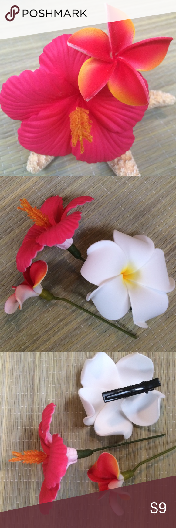 Bundle 2 faux hawaiian flower pics hair clip my posh picks bundle 2 faux hawaiian flower pics hair clip bundle 3 faux flower hair 1 dark pink hawaiian hibiscus flower and 1 small dark pink plumeria pics izmirmasajfo