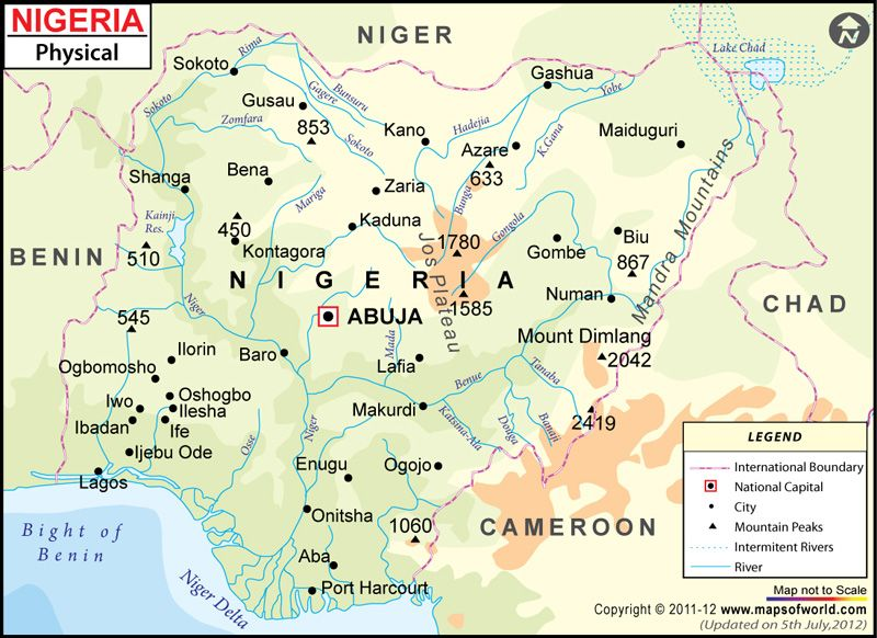 Nigeria Physical Map