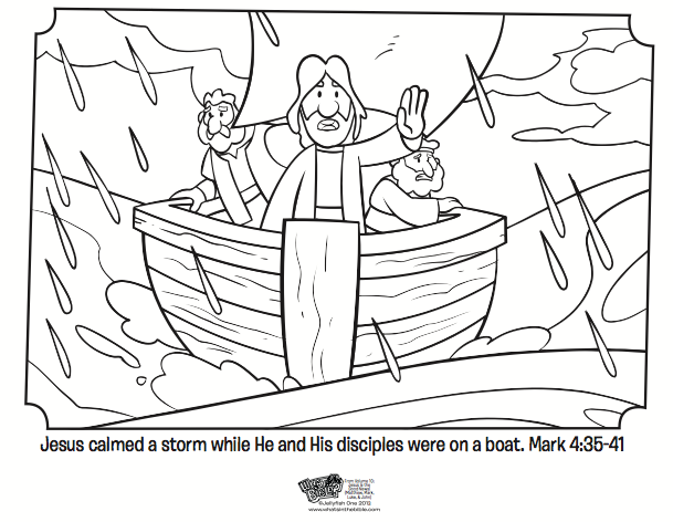 Kids Coloring Page From Whats In The Bible Showing Jesus Calming Storm Mark