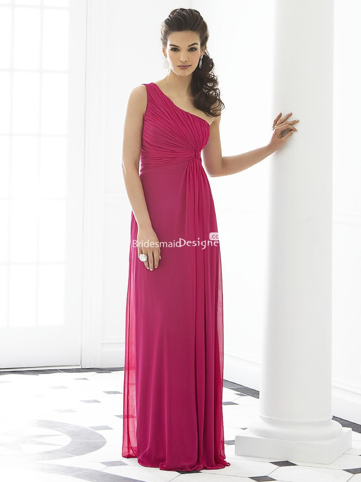 Chic fuschia one shoulder floor length empire sleeveless draped chic fuschia one shoulder floor length empire sleeveless draped chiffon bridesmaid dress us 36300 off ombrellifo Choice Image
