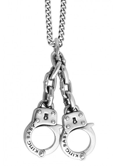 King baby large handcuff pendant 925 sterling silver pendant king baby large handcuff pendant 925 sterling silver pendant with 24 aloadofball Image collections