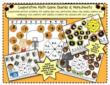 Cooperative Math Game Boards & Worksheets Cooperative partner activities for addition plus two, subtraction minus two, doubles addition and composing teen numbers with addition. A number line included with each game! Black-lined and color copies are included.$2.25