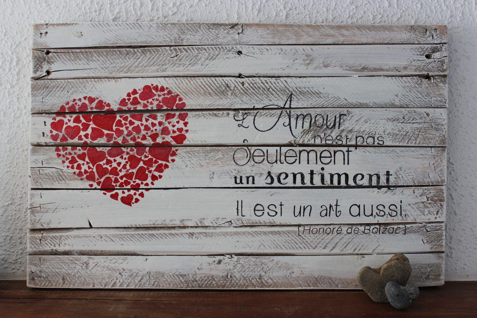 Palett 39 d co amour est un art tableau peinture deco palette bois et deco bois - Faire l amour sur un meuble ...