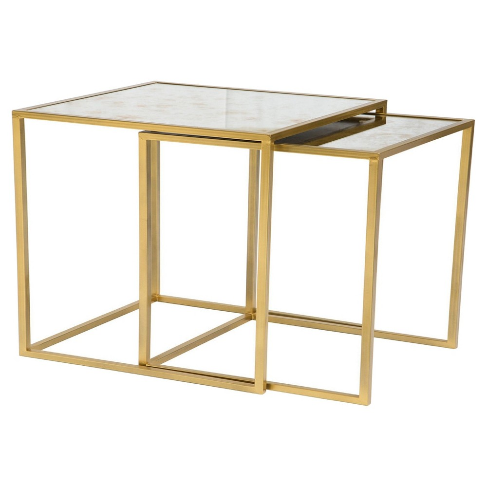 Vintage Mirror End Table Gold Set Of 2 Threshold Mirrored End Table Nesting Tables Zm Home