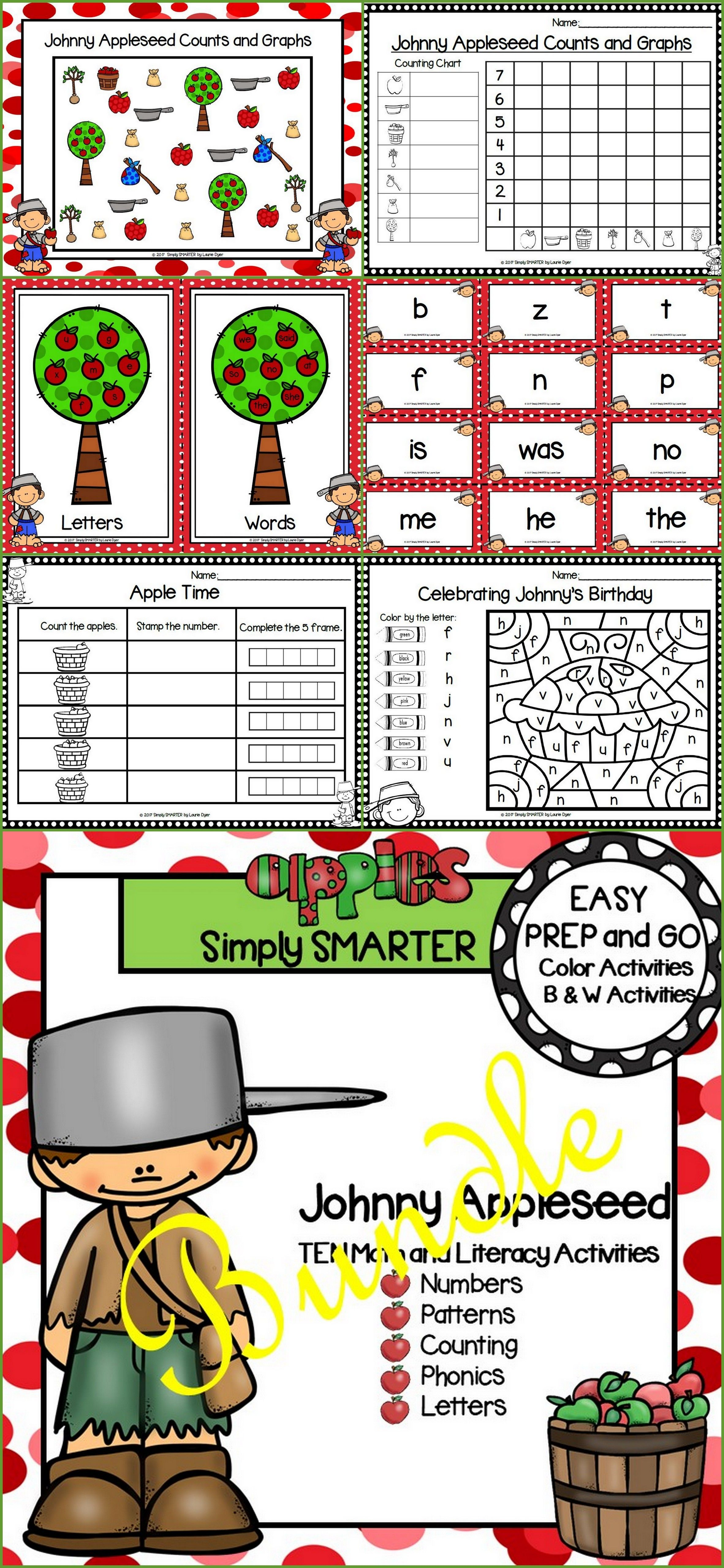Easy Prep Johnny Appleseed Math And Literacy Center
