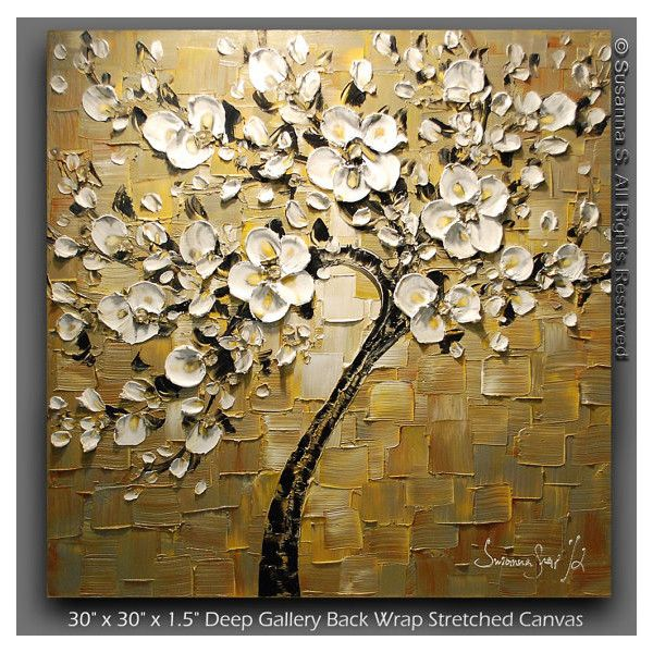 Original Large Square Abstract Contemporary White Cherry Blossom Tree 445 Liked On Polyvore Tree Painting Canvas Amazing Art Painting Oil Painting