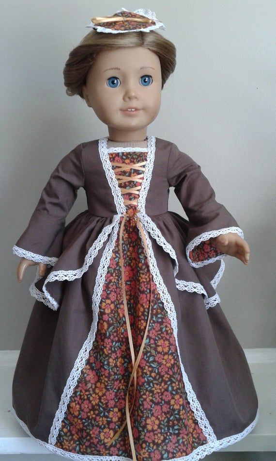 Colonial Chocolate Brown and Floral Calico Cotton Dress and Pinner Cap for AG Felicity or Elizabeth or 18 Inch Doll #colonialdolldresses