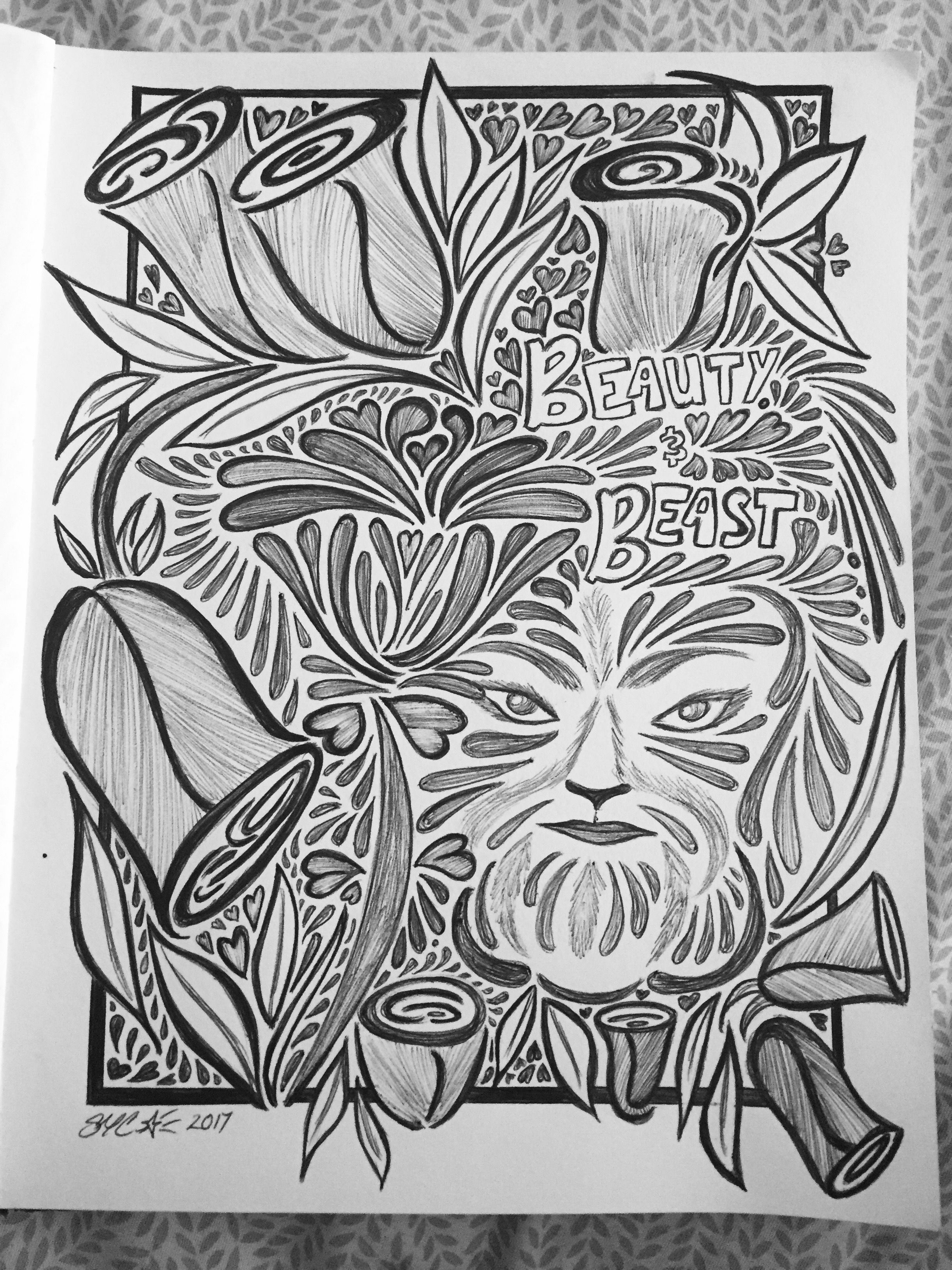 Ooak Beauty And The Beast Sketch By Me Airastar
