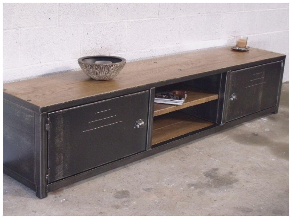 unique meuble tv bas bois et metal